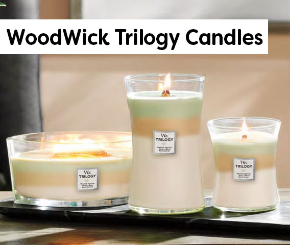 WoodWick Trilogy Candles - Crackle while they burn!